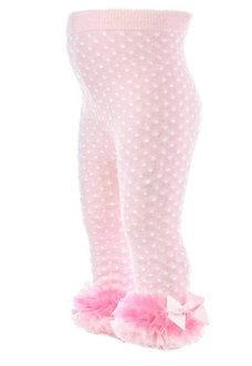 BM26 Mallas rosas con lunares blancos y tul con moño en tobillos