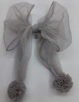 BROCH02 Moño gris con pinza forrada