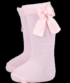 BC80 Calceta lisa rosa con moño