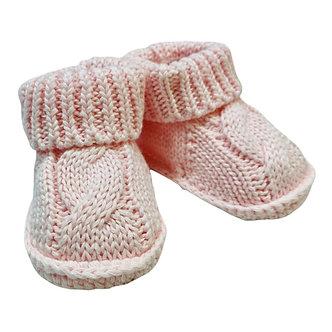 Zapatito de Crochet trenzado rosa