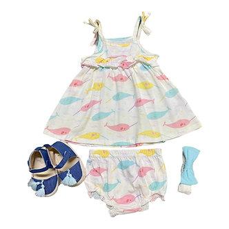 MOD03 Set de Vestido con calzón, Tiara y Zapatos, Ballenas