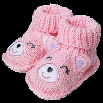 ZNB09 Zapatitos Crochet Osita rosa