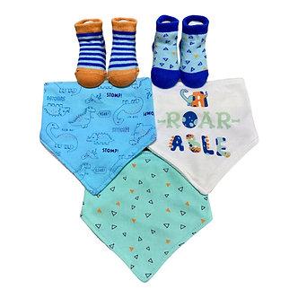 B31 Set de 3 bandanas y 2 pares de calcetines, modelo Dino