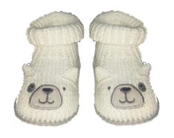ZNB31 Zapatitos crochet oso blanco