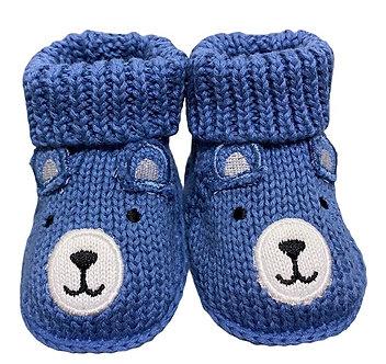 ZNB01 Zapatitos Crochet Osito Azul plumbago