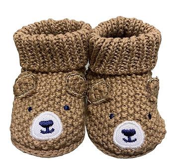 ZNB12 Zapatitos Crochet Osito texturizado beige
