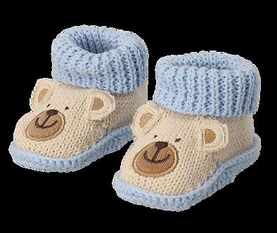 ZNB17 Zapatitos Crochet Osito azul/beige