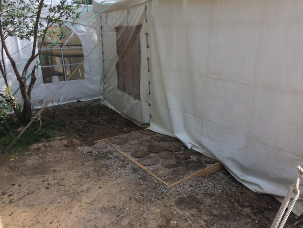 Aspecto exterior da tenda