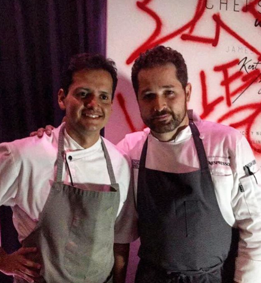 Chef Jorge Vallejo del restaurante Quintonil y chef James Kent del restaurante Crown Shy NY