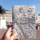 Carnet place Bellecour plié et cousu main - Lyon