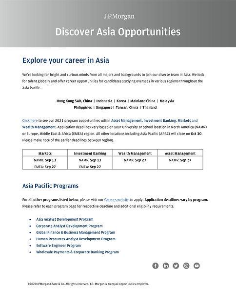 JPM 2021 Summer Internship Program Oppor