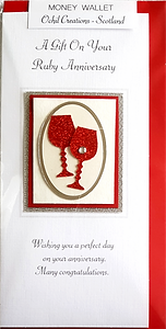 Ruby anniversary money wallet with red glitter wine glasses