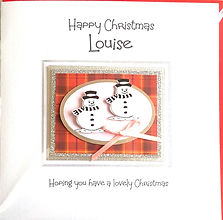 girls personalised Christmas card with snowmen on red tartan