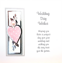 wedding day card with pink hearts and silver leaves