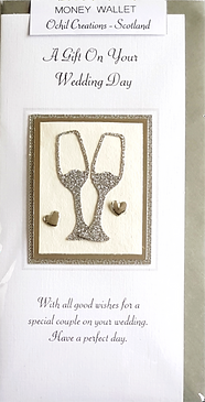 wedding day money wallet with silver goblets