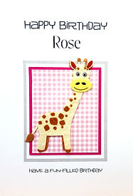 Giraffe on a pink gingham back childs personalised birthday card