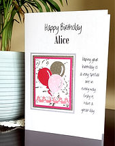 pink and silver balloons design on female personalised birthday card