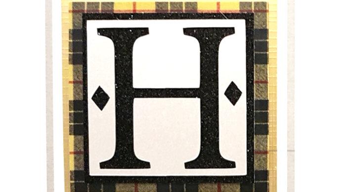 His n Hers Initial H male personalised tartan birthday card