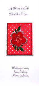 female birthday money wallet with red flower on white spotted red background