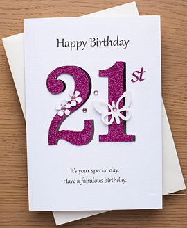 a 21st birthday card for girls with pink 21 numbers and flowers