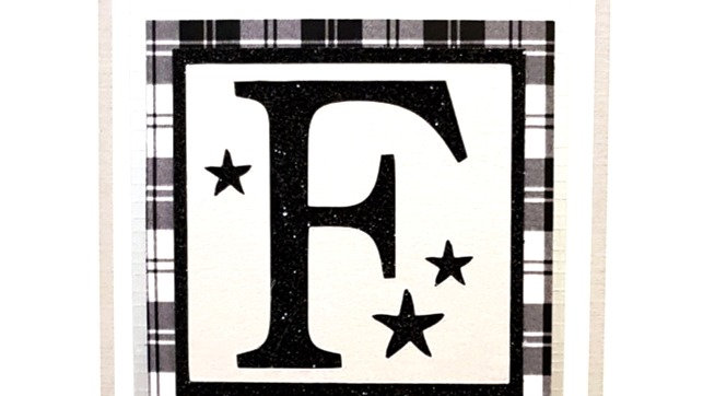 His n Hers Initial F male personalised tartan birthday card