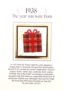 The year you were born male birthday card with a tartan gift box