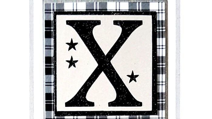 His n Hers Initial X male personalised tartan birthday card