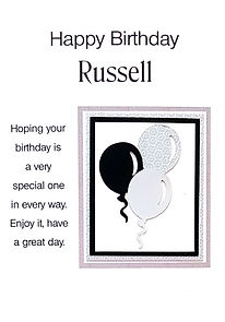 male personalised birthday cards with black and silver balloons on coloured background