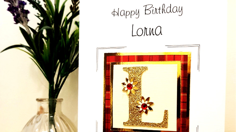 His n Hers Initial female personalised tartan birthday