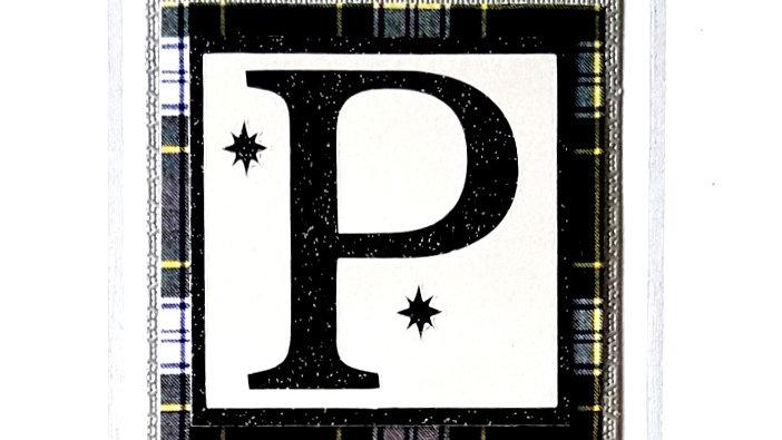 His n Hers Initial P male personalised tartan birthday card