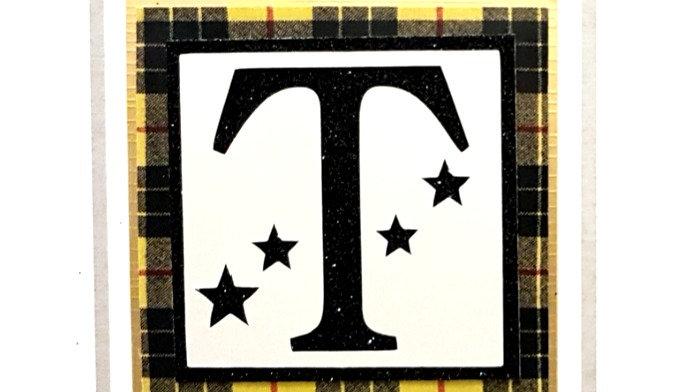 His n Hers Initial T male tartan personalised birthday card