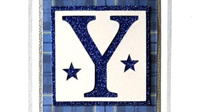His n Hers Initial Y male personalised tartan birthday card