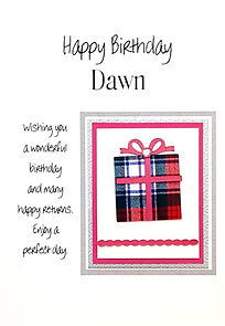 A ladies personalised birthday card with a tartan gift box.
