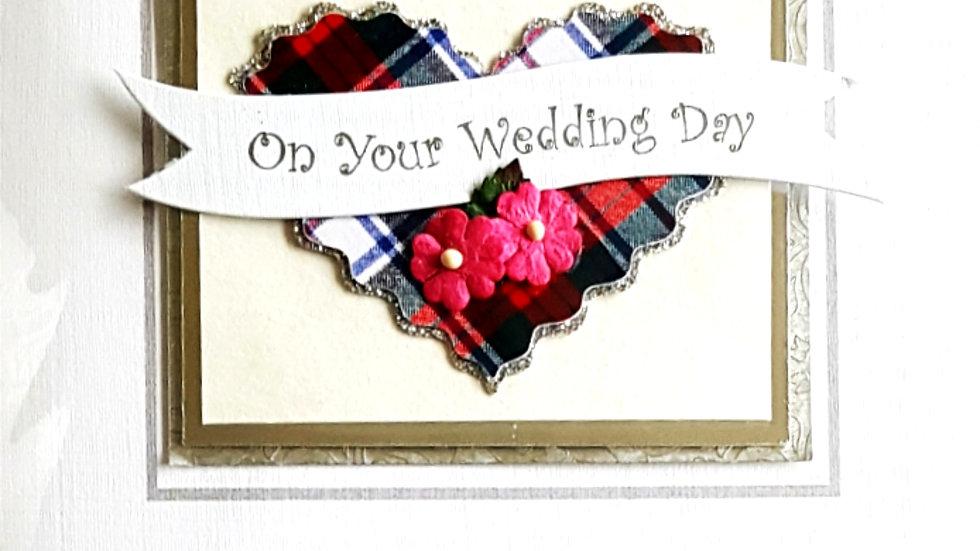 B2 wedding day with tartan