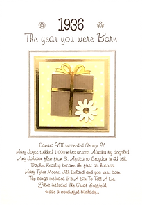 The year you were born female birthday card with stars design for any year from 1920 to 1979