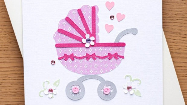 New baby girl card (A24)