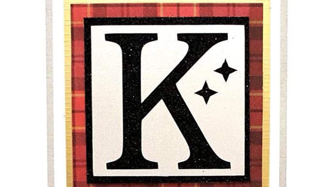 His n Hers Initial  K male tartan personalised birthday card