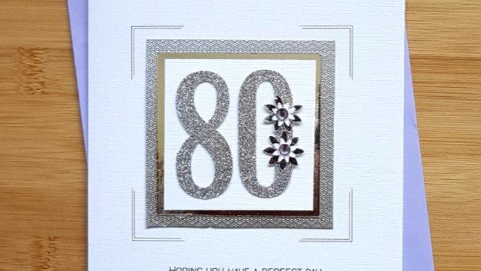 LC8  - 80th female birthday card