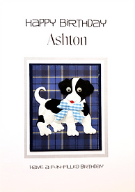 black and white dog on a blue tartan back childs personalised birthday card