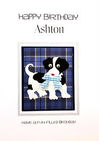 boys tartan personalised birthday card with dog