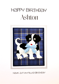 boys tartan personalised birthday card with dog