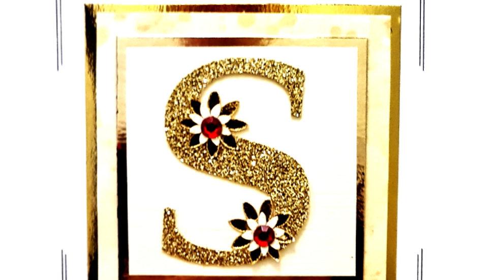 His n Hers Initial female personalised birthday card (L6)