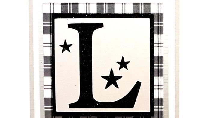 His n Hers Initial L male tartan personalised birthday card
