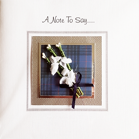 a note to say blank card with heather and tartan