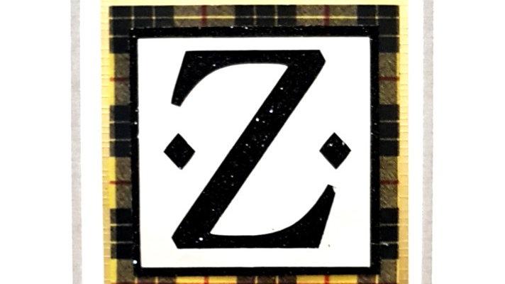 His n Hers Initial Z male personalised tartan birthday card