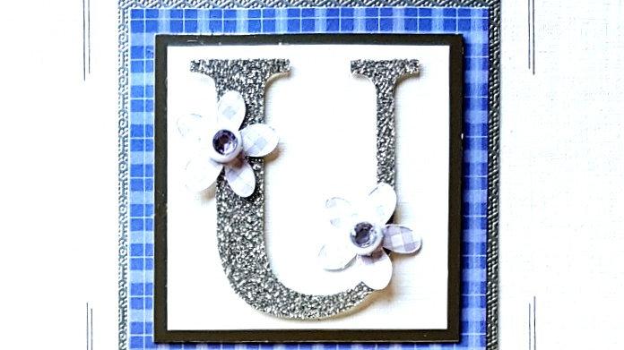 His n Hers Initial U female tartan personalised birthday card