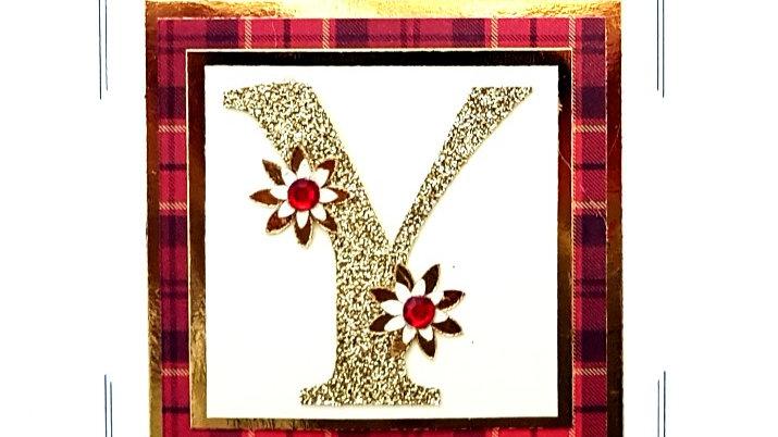 His n Hers Initial Y female personalised tartan birthday card