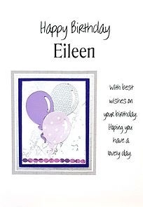 Balloons design on a ladies personalised birthday card. Happy birthday is printed inside.