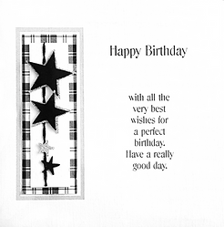 Male birthday card with stars on black and white tartan backing