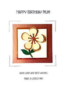mum birthday card with beige flower on rose gold metallic background